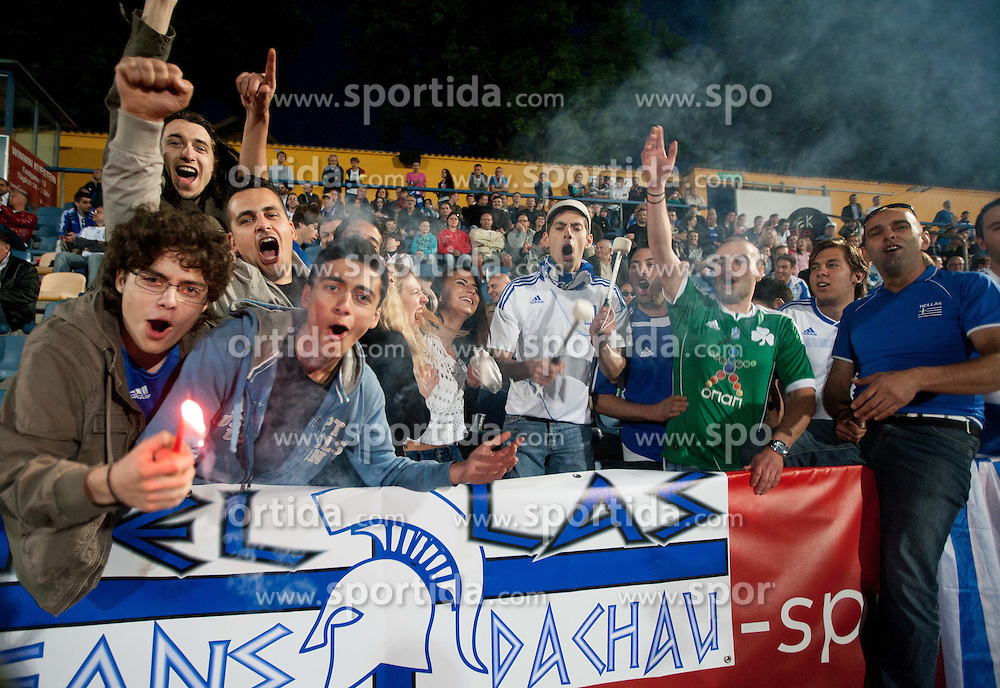 Fans of Greece during friendly football match between national teams of Slovenia and Greece, on May 26, 2012 in Kufstein, Austria.   (Photo by Vid Ponikvar / Sportida.com)