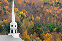 Church steeple in the town of Stowe Vermont USA