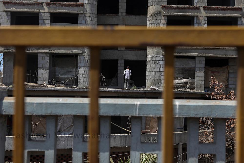 A under construction building is seen in Mumbai, Maharashtra, India, March 1, 2012. Photographer: Prashanth Vishwanathan