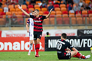 SYDNEY, NSW - FEBRUARY 24: Western Sydney Wanderers forward Oriol Riera (9) unhappy with a call at round 20 of the Hyundai A-League Soccer between Western Sydney Wanderers FC and Perth Glory on February 24, 2019 at Spotless Stadium, NSW. (Photo by Speed Media/Icon Sportswire)