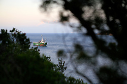 ITALY ISLA DEL GIGLIO 17OCT08 - The Greenpeace ship Arctic Sunrise lies anchored off  the Isola del Giglio in the Mediterranean.....jre/Photo by Jiri Rezac / GREENPEACE