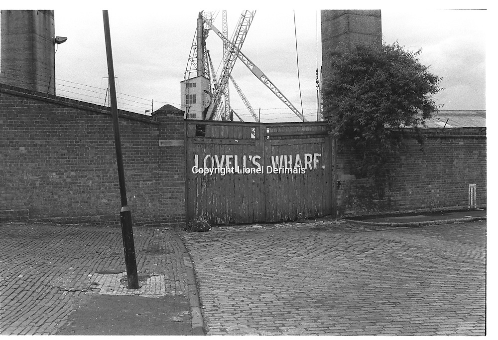 Lovell's Wharf, Greenwich, London street photography in 1982. Tri-X