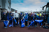 Leinster fans wait for the players<br /> <br /> Photographer Simon King/Replay Images<br /> <br /> Guinness PRO14 Round 19 - Ospreys v Leinster - Saturday 24th March 2018 - Liberty Stadium - Swansea<br /> <br /> World Copyright © Replay Images . All rights reserved. info@replayimages.co.uk - http://replayimages.co.uk