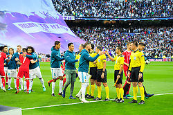May 2, 2018 - Madrid, Spain - MADRID, SPAIN. May 1, 2018 - Starting elevens before the game starts. With a 2-2 draw against Bayern Munchen, Real Madrid made it to the UEFA Champions League Final for third time in a row. Kimmich and James scored for the german squad while Karim Benzema did it twice for los blancos. Goalkeeper Keylor Navas had a great night with several decisive interventions. (Credit Image: © VW Pics via ZUMA Wire)