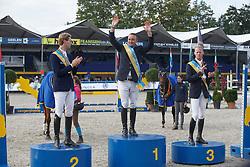 Podium BK, Cox Karel, Devos Pieter, Bruynseels Niels, (BEL)<br /> Belgisch Kampioenschap - Lanaken 2015<br /> © Hippo Foto - Dirk Caremans<br /> 19/09/15