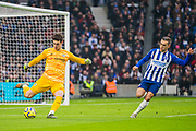 Kepa Arrizabalaga (Chelsea) & Leondro Trossard (Brighton) in action during the Premier League match between Brighton and Hove Albion and Chelsea at the American Express Community Stadium, Brighton and Hove, England on 1 January 2020.