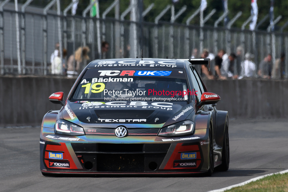 #19 Andreas BACKMAN (SWE) WestCoast Racing Volkswagen Golf GTI TCR  during TCR UK Championship Race One  as part of the BRSCC TCR UK Race Day Oulton Park  at Oulton Park, Little Budworth, Cheshire, United Kingdom. August 04 2018. World Copyright Peter Taylor/PSP. Copy of publication required for printed pictures.  Every used picture is fee-liable. http://archive.petertaylor-photographic.co.uk