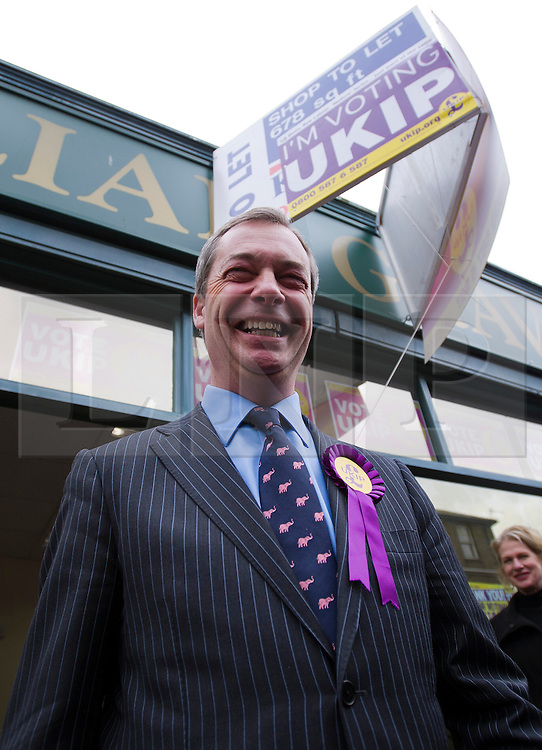 © London News Pictures. 01/03/2013 . Eastleigh, UK.  UKIP (UK Independence Part) leader NIGEL FARAGE outside the part headquarters in Eastleigh, Hampshire after the party came second in the Eastleigh by-election. Photo credit : Ben Cawthra/LNP