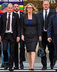 © Licensed to London News Pictures.28/03/2017.London, UK. CLAIRE BLACKMAN (C), wife of Sergeant Alexander Blackman, leaves the Royal Courts of Justice in London, where a judge reduced the sentence for Sgt Blackman's manslaughter charge, meaning he will be free within weeks..Photo credit: Ben Cawthra/LNP