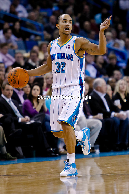 November 9, 2010; New Orleans, LA, USA; New Orleans Hornets point guard Jerryd Bayless (32) against the Los Angeles Clippers during a game at the New Orleans Arena. Mandatory Credit: Derick E. Hingle