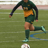2nd year midfielder Chantelle Doell (23) of the Regina Cougars in action during the Women's Soccer  road trip to Saskatoon on October 9 at Griffiths Stadium. Credit: Arthur Ward/Arthur Images