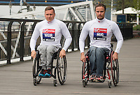Virgin Money London Marathon 2015<br /> <br /> <br /> <br /> David Weir (UK)  & Marcel Hug (Switzerland) IPC Athletes competing in the IPC World Championships.<br /> <br /> <br /> Photo: Bob Martin for Virgin Money London Marathon<br /> <br /> This photograph is supplied free to use by London Marathon/Virgin Money.