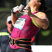 Valerie Adams, New Zealand, in action in the Women's Shot Put while winning her 50th consecutive competition during the Diamond League Adidas Grand Prix at Icahn Stadium, Randall's Island, Manhattan, New York, USA. 14th June 2014. Photo Tim Clayton
