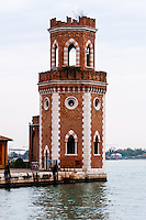 Italy, Venice. Tower at Arsenale di Venezia.
