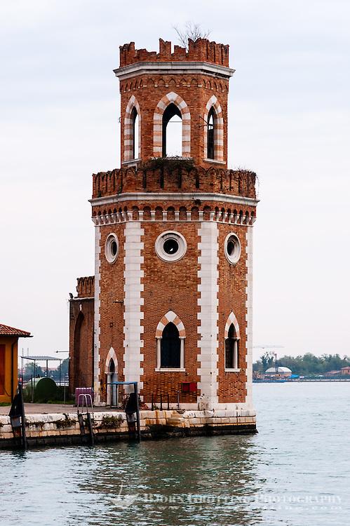 Italy, Venice. Tower at Arsenale di Venezia.