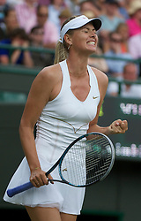 LONDON, ENGLAND - Friday, June 24, 2011: Maria Sharapova (RUS) celebrates winning the first set after a tie-break during the Ladies' Singles 2nd Round match on day five of the Wimbledon Lawn Tennis Championships at the All England Lawn Tennis and Croquet Club. (Pic by David Rawcliffe/Propaganda)