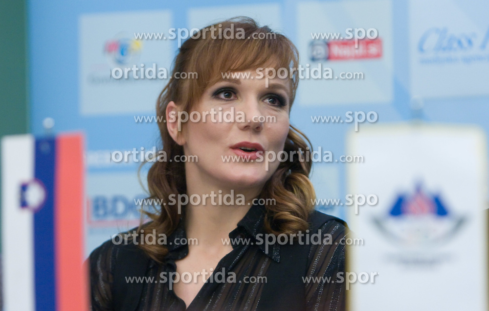 Petra Majdic at press conference when she has signed a contract with IOC and OKS for 16 months long sponsorship (1500 $ monthly) till Olympic games in Vancouver 2010, on December 22, 2008, Grand hotel Union, Ljubljana, Slovenia. (Photo by Vid Ponikvar / SportIda).