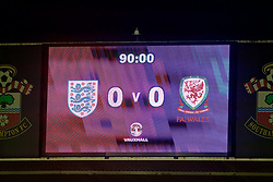 SOUTHAMPTON, ENGLAND - Friday, April 6, 2018: The scoreboard records Wales' goal-less draw with England during the FIFA Women's World Cup 2019 Qualifying Round Group 1 match between England and Wales at St. Mary's Stadium. (Pic by David Rawcliffe/Propaganda)