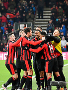 Goal - Junior Stanislas (19) of AFC Bournemouth celebrates scoring the winning goal to make the score 2-1 during the Premier League match between Bournemouth and West Bromwich Albion at the Vitality Stadium, Bournemouth, England on 17 March 2018. Picture by Graham Hunt.