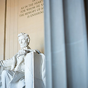 Interior statue at Lincoln Memorial in the National Mall, Washington DC.