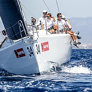 Palma de Mallorca, Spain - agosto 3, 2017:  during day 4 of the Copa del Rey sailing competition. The crew of Team -, , in their class during day 4 of the Copa del Rey-MAPFRE on agoust 3, 2017 in Palma, Spain.(Photo by Jesus DYañez)