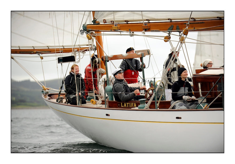 Day one of the Fife Regatta, Round Cumbraes Race.<br /> Latifa, 8, Mario Pirri, ITA, Bermudan Yawl, Wm Fife 3rd, 1936<br /> <br /> <br /> * The William Fife designed Yachts return to the birthplace of these historic yachts, the Scotland&rsquo;s pre-eminent yacht designer and builder for the 4th Fife Regatta on the Clyde 28th June&ndash;5th July 2013<br /> <br /> More information is available on the website: www.fiferegatta.com