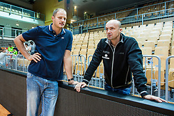 Raso Nesterovic and Head coach Jure Zdovc of Slovenia during friendly basketball match between National teams of Slovenia and Ukraine at day 1 of Adecco Cup 2015, on August 21 in Koper, Slovenia. Photo by Grega Valancic / Sportida