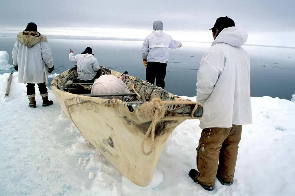 Barrow, Alaska, Naive whaler look out across the Chukchi sea for signs of a bowhead whale that they can go and hunt