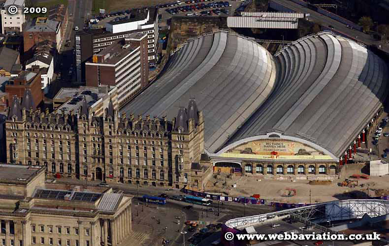 aerial photograph of Liverpool Lime Street Railway Station  Merseyside UK