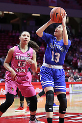 NORMAL, IL - February 10: Katrina Beck defends Alexis Delgado during a college women's basketball Play4Kay game between the ISU Redbirds and the Indiana State Sycamores on February 10 2019 at Redbird Arena in Normal, IL. (Photo by Alan Look)