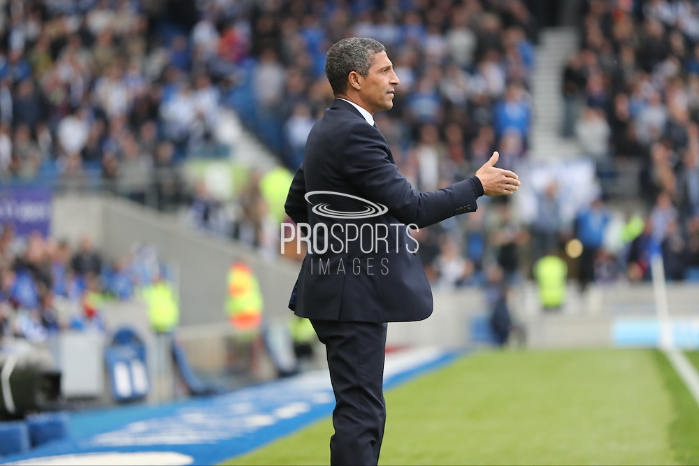 Brighton Manager, Chris Hughton during the EFL Sky Bet Championship match between Brighton and Hove Albion and Norwich City at the American Express Community Stadium, Brighton and Hove, England on 29 October 2016.
