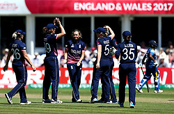 Laura Marsh of England Women celebrates with teammates after taking the wicket of Harshitha Madhavi of Sri Lanka Women - Mandatory by-line: Robbie Stephenson/JMP - 02/07/2017 - CRICKET - County Ground - Taunton, United Kingdom - England Women v Sri Lanka Women - ICC Women's World Cup Group Stage