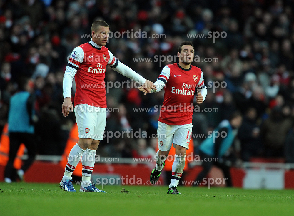 23.02.2013, Emirates Stadion, London, ENG, Premier League, FC Arsenal vs Aston Villa, 27. Runde, im Bild Santi Cazorla Celebrates Scoring 2nd goal with team mate Lukas Podolski during the English Premier League 27th round match between Arsenal FC and Aston Villa at the Emirates Stadium, London, Great Britain on 2013/02/23. EXPA Pictures © 2013, PhotoCredit: EXPA/ Propagandaphoto/ Robin Parker..***** ATTENTION - OUT OF ENG, GBR, UK *****