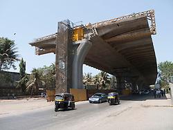 New elevated road being built above existing road, near Hyatt Regency hotel, Mumbai.