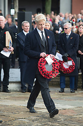 © Licensed to London News Pictures. 11/11/2018. Orpington, UK. Jo Johnson walking over to lay his wreath at the war memorial. Ex-transport minister and MP for Orpington Jo Johnson attending the Remembrance day service at Orpington war memorial to mark one hundred years since the end of the first world war.Photo credit: Grant Falvey/LNP