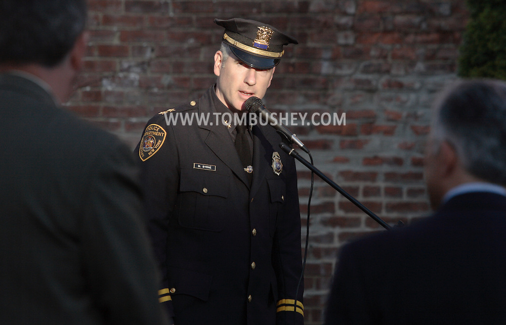Middletown, N.Y.  - Middletown police Chief Matthew Byrne speaks at a crime victims ceremony at Festival Square on April 29, 2009.