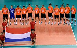 02-10-2013 VOLLEYBAL: WK KWALIFICATIE MANNEN NEDERLAND - ISRAEL: ALMERE<br /> Nederland wint met 3-0 van Israel / Team Nederland<br /> ©2013-FotoHoogendoorn.nl