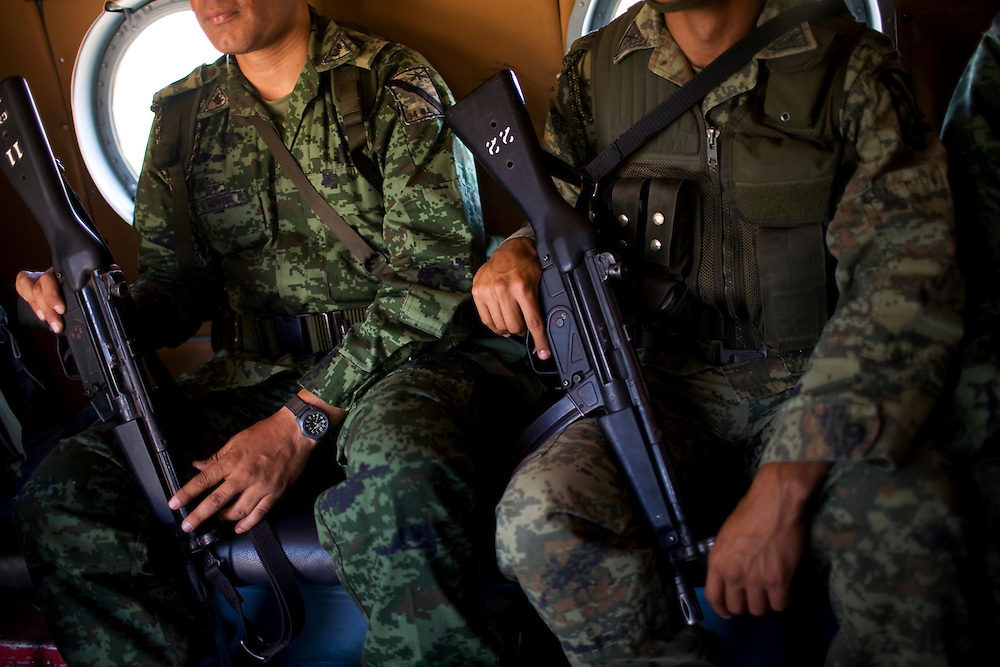 Members of the Mexican Army search for and the destroy fields of Marijuana in the state of Sinaloa.