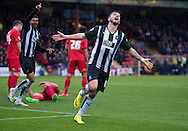 Graham Carey of Plymouth Argyle (right) celebrates after scoring his team's 2nd goal to make it 2-0 during the Sky Bet League 2 match at Bootham Crescent, York<br /> Picture by Russell Hart/Focus Images Ltd 07791 688 420<br /> 14/11/2015