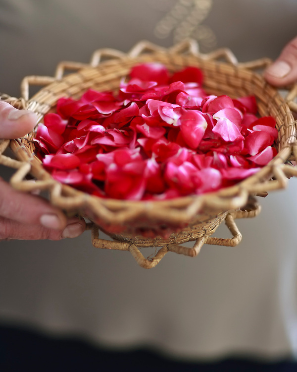 Woman holding a basket full of rose petals for a wedding.