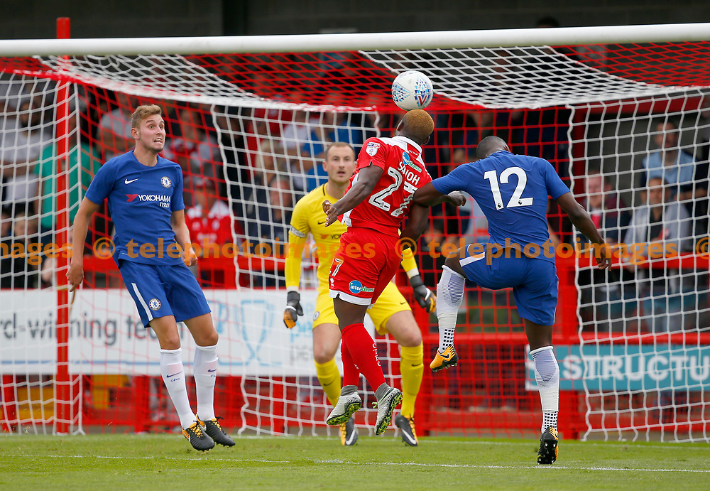 Moussa Sanoh of Crawley attacks the Chelsea goal during the pre season friendly between Crawley Town and Chelsea XI at the Checkatrade Stadium in Crawley. 15 Jul 2017