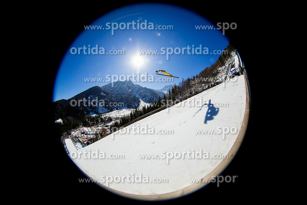 LAMY CHAPPUIS Ronan of France soaring through the air during Large Hill Individual Qualification Event at 1st day of FIS Ski Jumping World Cup Finals Planica 2014, on March 20, 2014 in Planica, Slovenia. Photo by Vid Ponikvar / Sportida