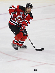June 2; Newark, NJ, USA; New Jersey Devils center Patrik Elias (26) makes a pass during the first period of the 2012 Stanley Cup Finals Game 2 at the Prudential Center.