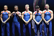 James Hall, Max Whitlock, Joe Fraser, Dominick Cummingham and Courtney Tulloch, vice european champions during the presentation of the teams during the European Championships Glasgow 2018, Team Men Final at The SSE Hydro in Glasgow, Great Britain, Day 10, on August 11, 2018 - Photo Laurent Lairys / ProSportsImages / DPPI