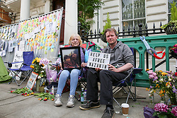 "© Licensed to London News Pictures. 21/06/2019. London, UK. Barbara Redcliffe (L) mother of Richard Ratcliffe (L), the husband of imprisoned Iranian-British national Nazanin Zaghari-Ratcliffe on the seventh day of a hunger strike outside the Iranian Embassy in London in solidarity with his wife, who is refusing to eat in protest at her ""unfair imprisonment"" in Iran on spying charges. Photo credit: Dinendra Haria/LNP"