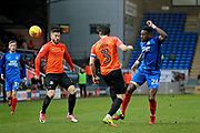Peterborough United forward Omar Bogle (26) and Southend United midfielder Michael Kightly (7) during the EFL Sky Bet League 1 match between Peterborough United and Southend United at London Road, Peterborough, England on 3 February 2018. Picture by Nigel Cole.
