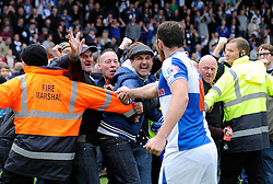 Bristol Rovers' Tom Parkes celebrates with Bristol Rovers fans after the win - Photo mandatory by-line: Dougie Allward/JMP - Mobile: 07966 386802 26/04/2014 - SPORT - FOOTBALL - High Wycombe - Adams Park - Wycombe Wanderers v Bristol Rovers - Sky Bet League Two