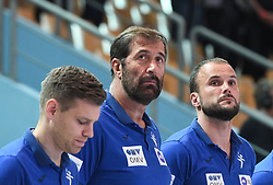Zan Rant Roos, Veselin Vujovic and Uros Zorman before friendly handball match between Slovenia and Srbija, on October 27th, 2019 in Športna dvorana Lukna, Maribor, Slovenia. Photo by Milos Vujinovic / Sportida