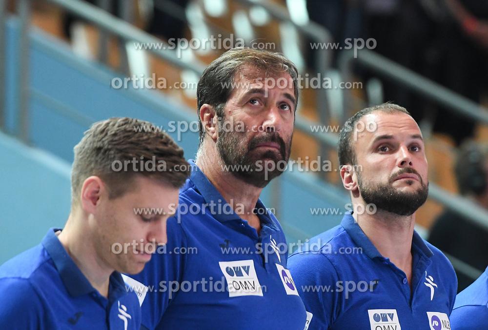 Zan Rant Roos, Veselin Vujovic and Uros Zorman before friendly handball match between Slovenia and Srbija, on October 27th, 2019 in Športna dvorana Lukna, Maribor, Slovenia. Photo by Milos Vujinovic / Sportida