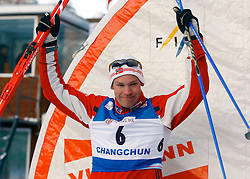 CHANGCHUN, CHINA - SUNDAY, FEBRUARY 25th, 2007: Naess Boerre of Norway celebrates after winning the silver in the men's 1.2 km sprint race at the 2007 FIS World Cup cross-country skiing event. (Pic by Osports/Propaganda)